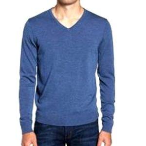 J. Crew Sz S Blue v-neck lambswool sweater